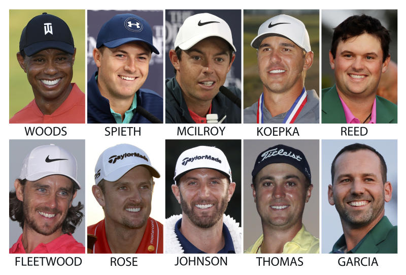 FILE - Top row from left are Tiger Woods, Jordan Spieth, Rory McIlroy, Brooks Koepka and Patrick Reed. Bottom from left are Tommy Fleetwood, Justin Rose, Dustin Johnson, Justin Thomas and Sergio Garcia. All are expected to compete in the British Open golf tournament next week. (AP Photo/File)