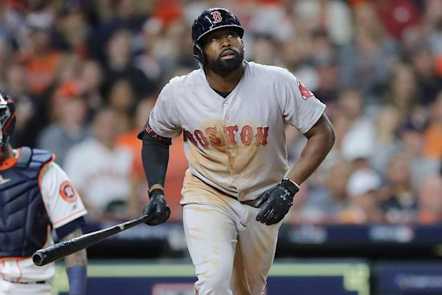 Red Sox outfielder Jackie Bradley Jr. was a hero again in Game 4 of the American League Championship Series. (Getty Images)