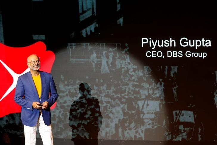 DBS Chief Executive Officer Piyush Gupta speaks during an event in Mumbai