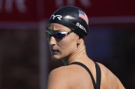 Leah Smith prepares to compete in the women's 200-meter final at the TYR Pro Swim Series swim meet Friday, April 9, 2021, in Mission Viejo, Calif. (AP Photo/Ashley Landis)