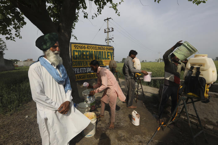 Indian farmer Bhupinder Singh, 62, watches as laborers prepare pesticide to spray in his standing wheat crop in Moga district of Indian state of Punjab, Saturday, March 13, 2021. India is home to a fifth of the world's population but has only 4% of the world's water. The country is the largest extractor of groundwater in the world, and 90% of it is used for agriculture. And nowhere is the water shortage more pronounced than in Punjab state, where the India encouraged the cultivation of wheat and rice in the 1960s and has since been buying the staples at fixed prices to shore up national reserves. (AP Photo/Manish Swarup)