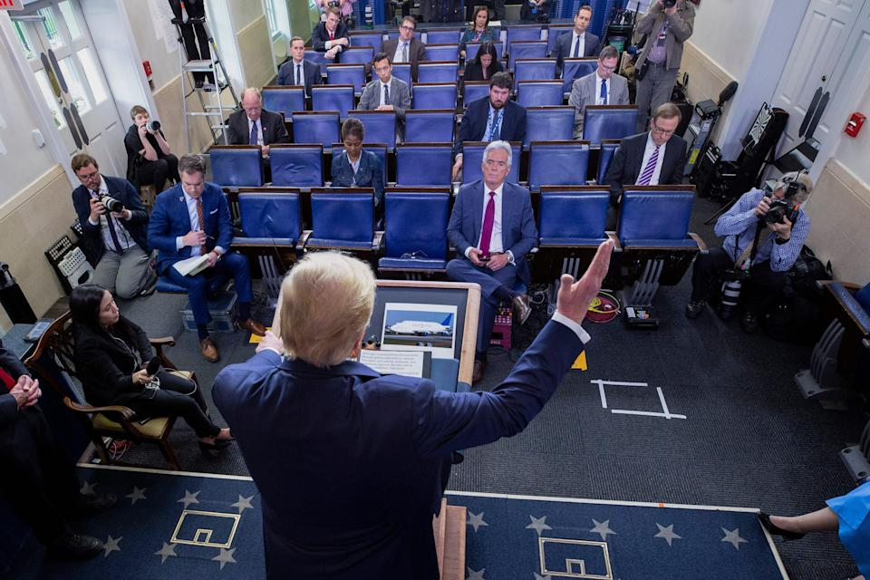 President Donald Trump speaks about the coronavirus in the James Brady Press Briefing Room, Friday, March 27, 2020, in Washington.