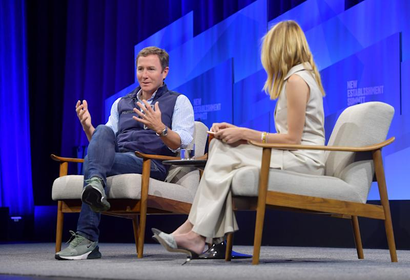 BEVERLY HILLS, CALIFORNIA - OCTOBER 23: (L-R) John Foley, Cofounder and CEO of Peloton and Vanity Fair correspondent Jane Fox speak onstage during 'Peloton Gears Up' at Vanity Fair's 6th Annual New Establishment Summit at Wallis Annenberg Center for the Performing Arts on October 23, 2019 in Beverly Hills, California. (Photo by Matt Winkelmeyer/Getty Images for Vanity Fair)