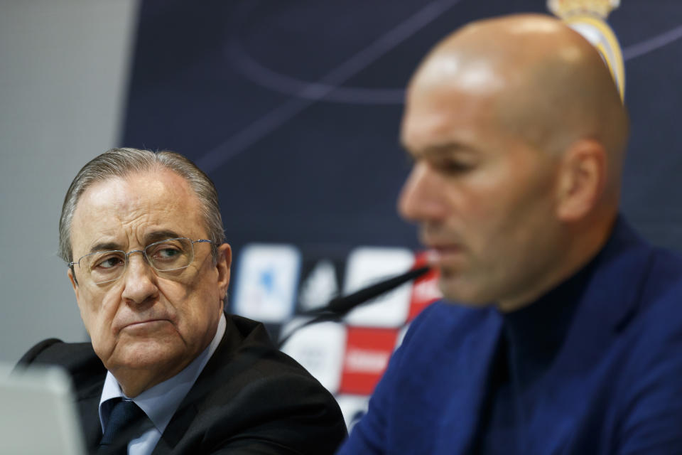 MADRID, SPAIN - MAY 31:  Real Madrid CF president Florentino Perez (L) and Zinedine Zidane (R) attend a press conference to announce his resignation as Real Madrid manager at Valdebebas Sport City on May 31, 2018 in Madrid, Spain. Zidane steps down from the position of Manager of Real Madrid, after leading the club to it's third consecutive UEFA Champions League title.  (Photo by Angel Martinez/Real Madrid via Getty Images)