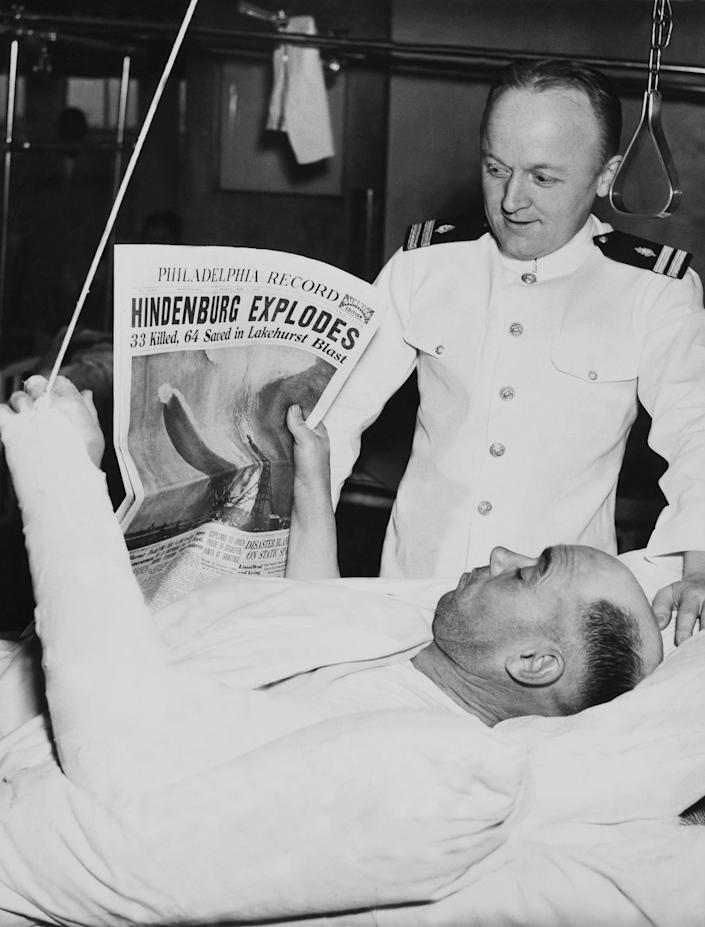 <p>A crew member recovers in a Philidelphia hospital after the Hindenburg explosion in Lakehurst, NJ on May 6, 1937. (Keystone-France/Gamma-Keystone via Getty Images) </p>