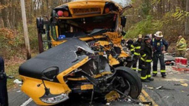 PHOTO: Rescue crews work the scene of a school bus crash in New Windsor, New York, Oct. 21, 2020. (Marcus Solis via Twitter)