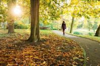 "<p>About to lose it at the office? A short, 15-minute stroll is enough to lower levels of stress and fatigue, finds a <a href=""https://www.semanticscholar.org/paper/Enhancing-daily-well-being-at-work-through-park-and-Sianoja-Syrek/a6f36273d9f008697491db023aa777d64f0a0420"" rel=""nofollow noopener"" target=""_blank"" data-ylk=""slk:study"" class=""link rapid-noclick-resp"">study</a> published in the <em>Journal of Occupational Health Psychology</em>. (You can thank both a <a href=""https://www.prevention.com/fitness/a20485587/benefits-from-walking-every-day/"" rel=""nofollow noopener"" target=""_blank"" data-ylk=""slk:release of feel-good hormones"" class=""link rapid-noclick-resp"">release of feel-good hormones</a>, such as endorphins, and exposure to nature for the benefits.)</p>"