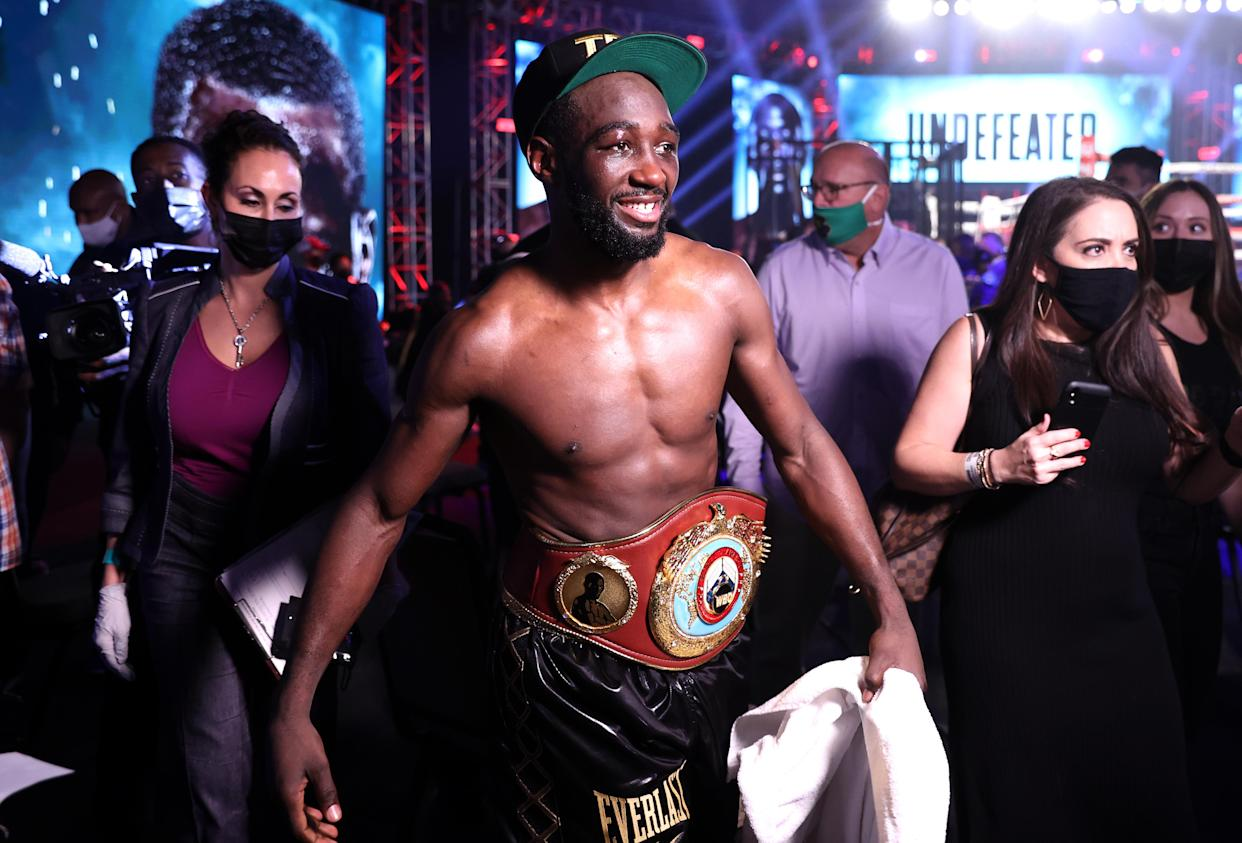 LAS VEGAS, NV - NOVEMBER 14: Terence Crawford post fight after his victory over Kell Brook for the WBO welterweight title at the MGM Grand Conference Center on November 14, 2020 in Las Vegas, Nevada. (Photo by Mikey Williams/Top Rank Inc via Getty Images)