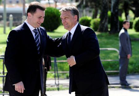 FILE PHOTO: Macedonian Prime Minister Nikola Gruevski (L) meets with his Hungarian counterpart Viktor Orban in Skopje May 12, 2011.   REUTERS/Ognen Teofilovski/File Photo