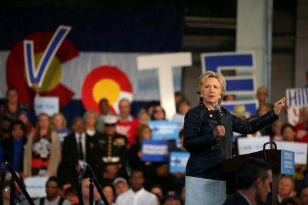 U.S. Democratic presidential nominee Hillary Clinton speaks at a rally at the Colorado State Fair Grounds in Pueblo