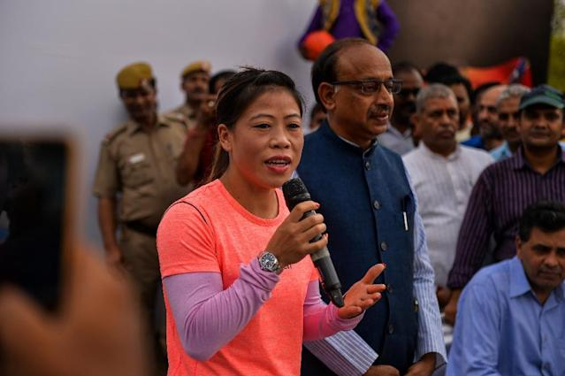 Indian boxer Mary Kom, pictured in 2016, makes a triumphant comeback (AFP Photo/CHANDAN KHANNA)