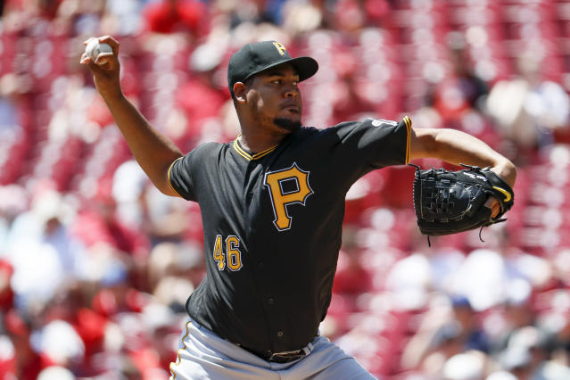 Pittsburgh Pirates starting pitcher Ivan Nova throws in the first inning of a baseball game against the Cincinnati Reds, Thursday, May 24, 2018, in Cincinnati. (AP Photo/John Minchillo)