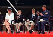 <p>Prince Charles, Prince William, Prince Harry, and Princess Diana appear at a parade during V.J. Day commemorations</p>