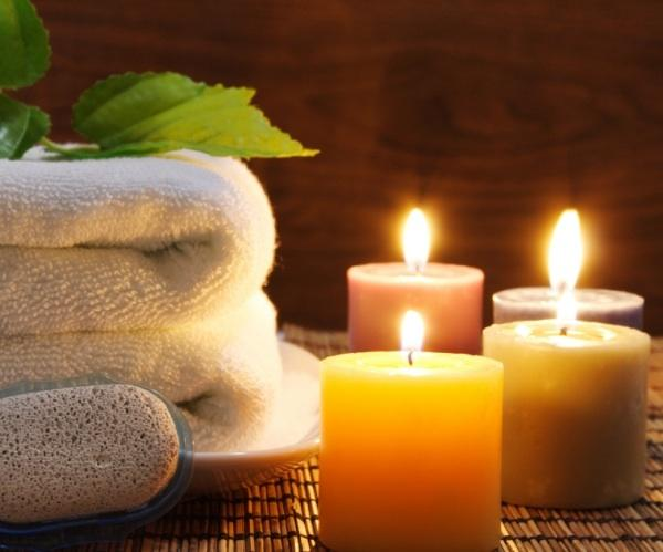 Candles  The spa experience is all about creating a mood, one that soothes the senses and promotes well-being. One of the easiest ways to create that mood is with the soft, flickering glow of candlelight. Cluster them on the vanity, window ledge or around the tub for a long, stress-relieving soak. And be sure to choose varieties that are infused with a relaxing scent like lavender, known to help in countering stress and fostering a sense of calm. Aroma Essentials, $25 (Photo: Spa Week)