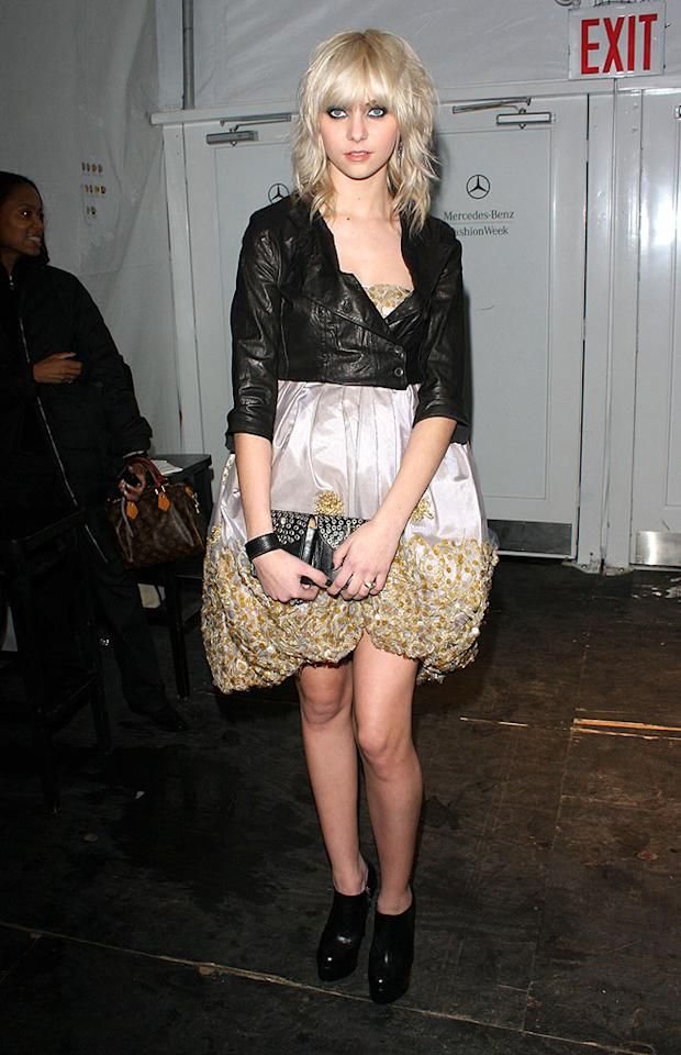 "Taylor Momsen makes her third consecutive appearance in ""What Were They Thinking?!"" thanks to her permascowl and questionable sense of style. Richie Buxo/<a href=""http://www.splashnewsonline.com"" target=""new"">Splash News</a> - February 19, 2009"