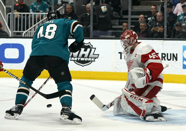 Detroit Red Wings goaltender Jimmy Howard (35) makes a save against San Jose Sharks center Tomas Hertl (48) during the first period of an NHL hockey game Monday, March 25, 2019, in San Jose, Calif. (AP Photo/Tony Avelar)