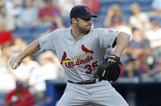 St. Louis Cardinals starting pitcher Jake Westbrook (35) works against the Atlanta Braves in the first inning of a baseball game, Tuesday, May 29, 2012, in Atlanta. (AP Photo/John Bazemore)