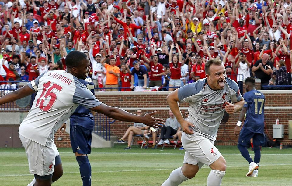 Xherdan Shaqiri's bicycle kick for Liverpool against Manchester United might have been the best moment of the 2018 International Champions Cup. (Getty)
