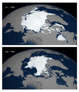 The summer retreat of sea ice over the Arctic is shown in this combination of images from animation stills modeled from July 1, 2009 and September 7, 2009 from the National Snow and Ice Data Center, released to Reuters September 17, 2009.