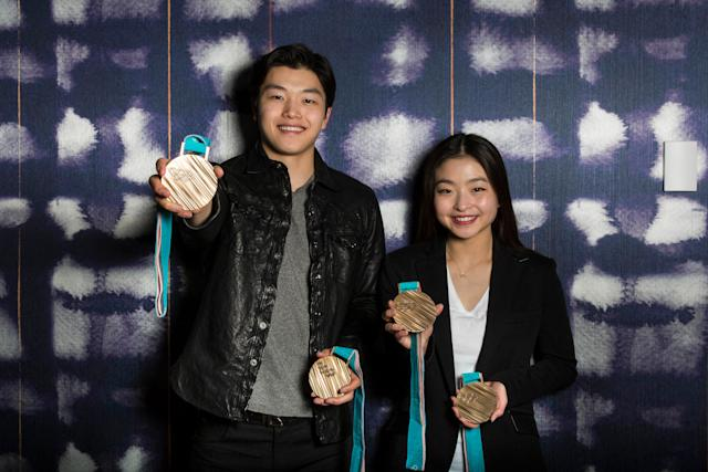 Alex and Maia Shibutani with their bronze medals from the Winter Games in Pyeongchang, South Korea.