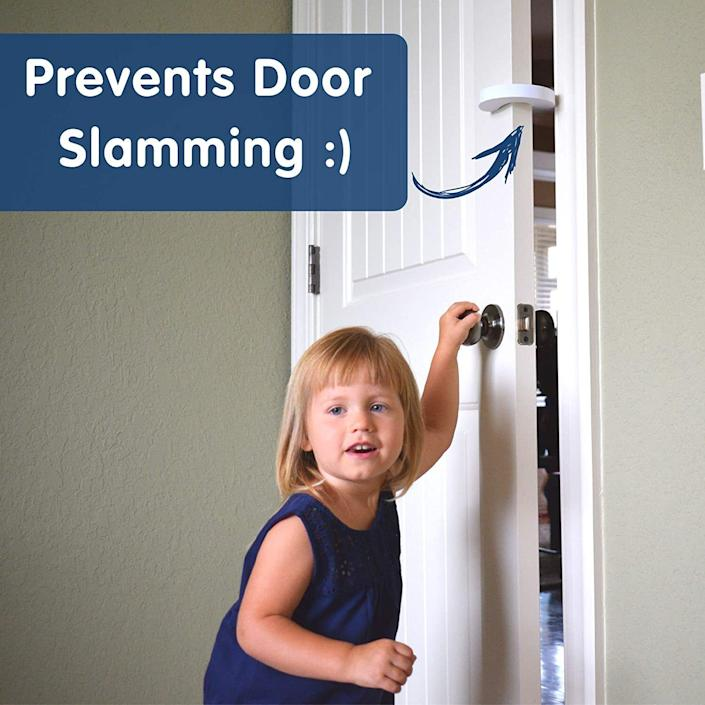 """Youcan attach these to any part of your door to keep them open at all times. No hurt fingers in your house!<br /><br /><strong>Promising review:</strong>""""These door guards are excellent! They are thick and sturdy. I'm able to put them on my inside doors with ease and they stay in place. My 16-month-old can not pull them off. The doors DO NOT shut with these on.<strong>You can put them on any side of the door. I have one door where my little one could pinch his fingers in the hinges. I'm able to insert the guard on the side with the hinge!</strong>The door barely moves open/closed and does prevent fingers from pinching. I highly recommend these."""" — <a href=""""https://www.amazon.com/gp/customer-reviews/R3K8KYITVVWM6E?&linkCode=ll2&tag=huffpost-bfsyndication-20&linkId=d66ce0311d4f8b93123640f9f77748f8&language=en_US&ref_=as_li_ss_tl"""" target=""""_blank"""" rel=""""noopener noreferrer"""">HTHONLINE</a><br /><br /><strong><a href=""""https://www.amazon.com/dp/B0199JMET2?&linkCode=ll1&tag=huffpost-bfsyndication-20&linkId=346237dcb4d9c25defcc57378cd28d0e&language=en_US&ref_=as_li_ss_tl"""" target=""""_blank"""" rel=""""noopener noreferrer"""">Get them from Amazon for $8.95.</a></strong>"""
