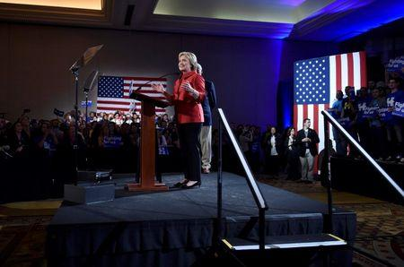 Democratic candidate Clinton speaks after the Nevada caucus in Las Vegas