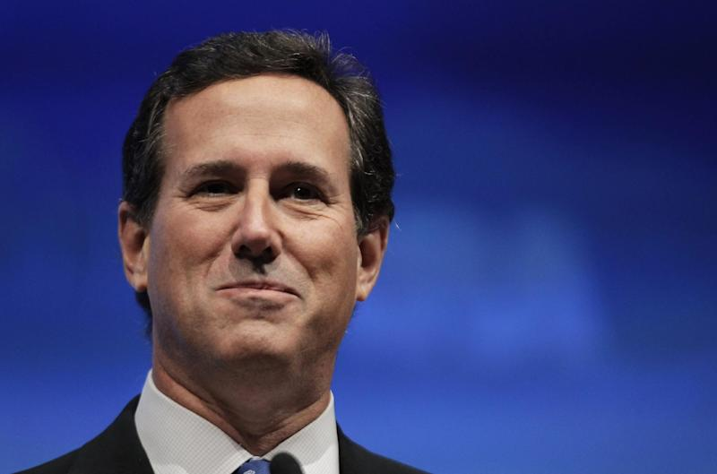 Former Republican presidential candidate Rick Santorum speaks at the National Rifle Association convention in St. Louis, Friday, April 13, 2012. (AP Photo/Michael Conroy)