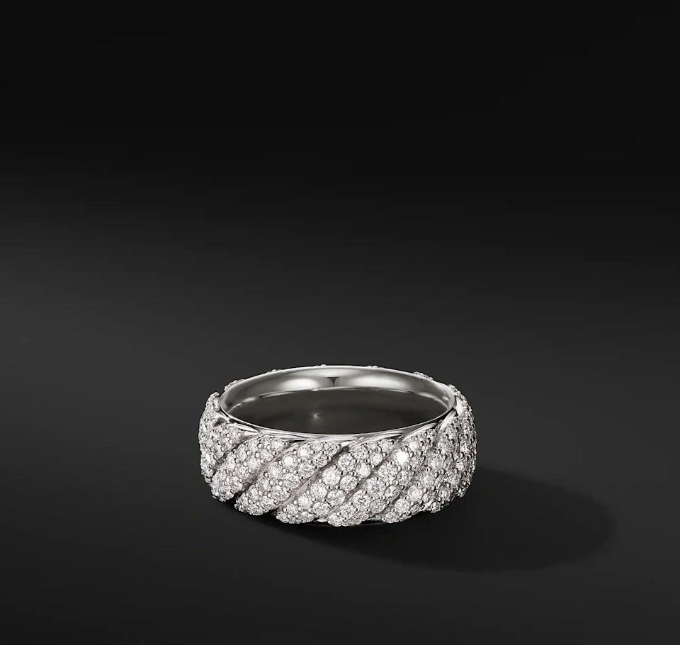 <p><span>David Yurman Cable Band Ring in 18K White Gold With Pave Diamonds</span> ($8,200)</p>