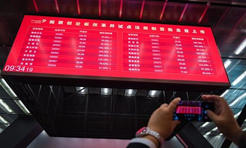 A big screen displaying stock prices of the first batch of registration-based initial public offerings on ChiNext board at Shenzhen Stock Exchange on August 24. Photo: Xinhua