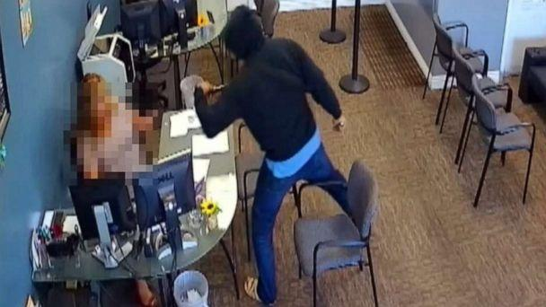 PHOTO: An image made from surveillance video released by police shows Zachary Castaneda attacking an unidentified woman during his stabbing spree in Garden Grove, Calif., Aug. 7, 2019. (Garden Grove Police)