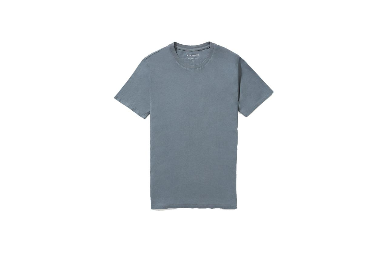 """$18, Everlane. <a href=""""https://www.everlane.com/products/mens-cotton-crew-tee-dark-slate"""">Get it now!</a>"""