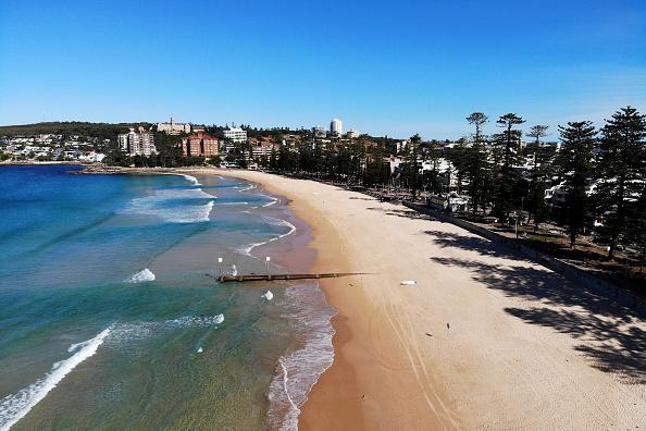 A closed Manly Beach is pictured.