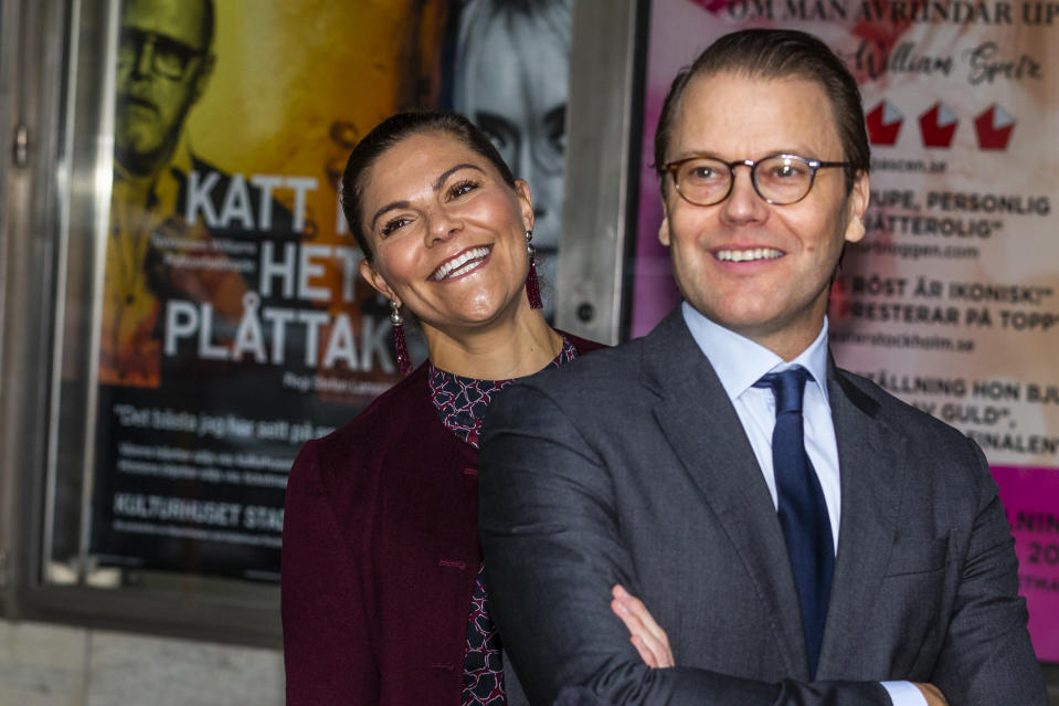 STOCKHOLM, SWEDEN - OCTOBER 01: Crown Princess Victoria and Prince Daniel of Sweden visit the Maxim Theater on October 1, 2020 in Stockholm, Sweden. The Maxim Theater is one of the many local businesses struggling because of the restrictions on gatherings of over 50 people due to the COVID-19 pandemic. (Photo by Michael Campanella/Getty Images)