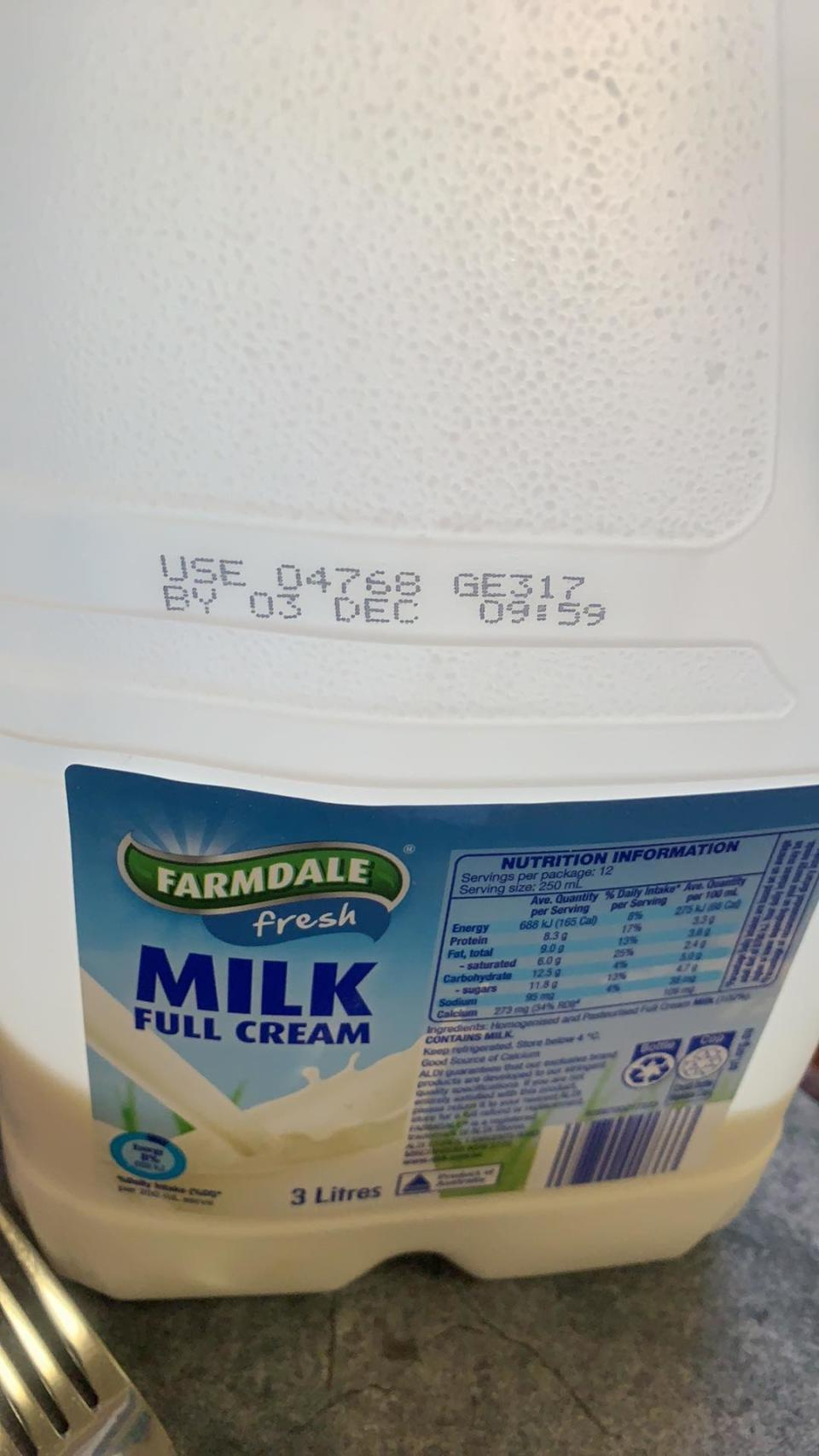 A three-litre bottle of Aldi Farmdale Fresh milk that thickened after being poured.