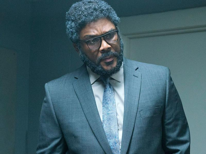 Oops: Tyler Perry in his new movie A Fall from Grace: Netflix