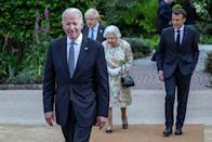 <p>President Joe Biden, Prime Minister Boris Johnson, and French President Emmanuel Macron joined the Queen at a reception at The Eden Project.</p>