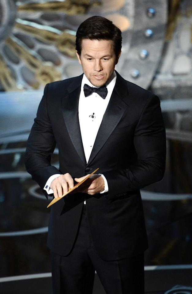 HOLLYWOOD, CA - FEBRUARY 24:  Actor Mark Wahlberg presents onstage during the Oscars held at the Dolby Theatre on February 24, 2013 in Hollywood, California.  (Photo by Kevin Winter/Getty Images)