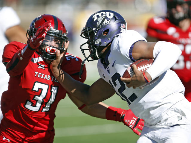 TCU beat Texas Tech 27-3 in Lubbock on Saturday. (AP Photo/Brad Tollefson)