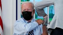 PHOTO: President Joe Biden receives a COVID-19 booster shot during an event in the South Court Auditorium on the White House campus, Sept. 27, 2021, in Washington. (Evan Vucci/AP)