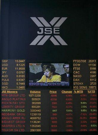 Electronic board displaying movements in major indices is seen at Johannesburg stock exchange in Sandton