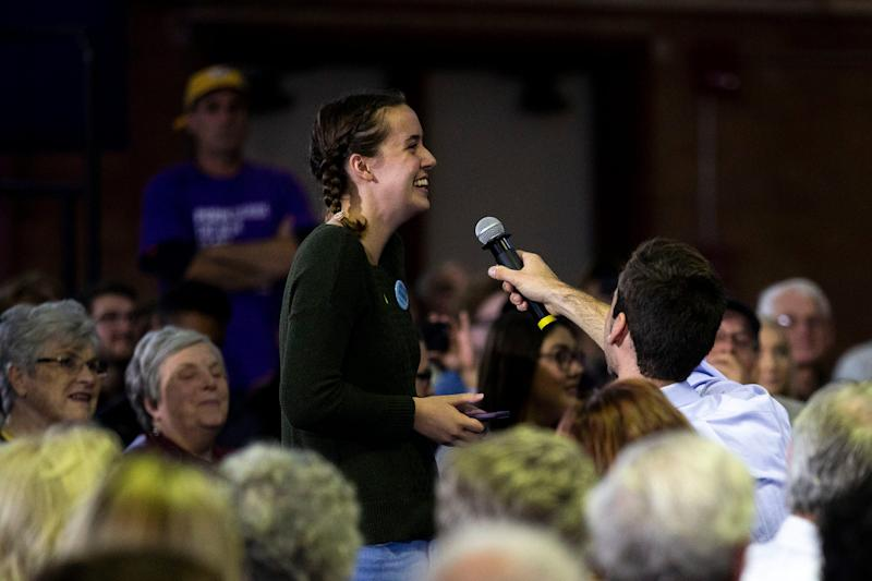Megan Janes, a University of Northern Iowa student, asked a question to U.S. Sen. Elizabeth Warren, D-Mass., during a town hall event on the UNI campus on Tuesday, Oct. 22, 2019, in Cedar Falls.