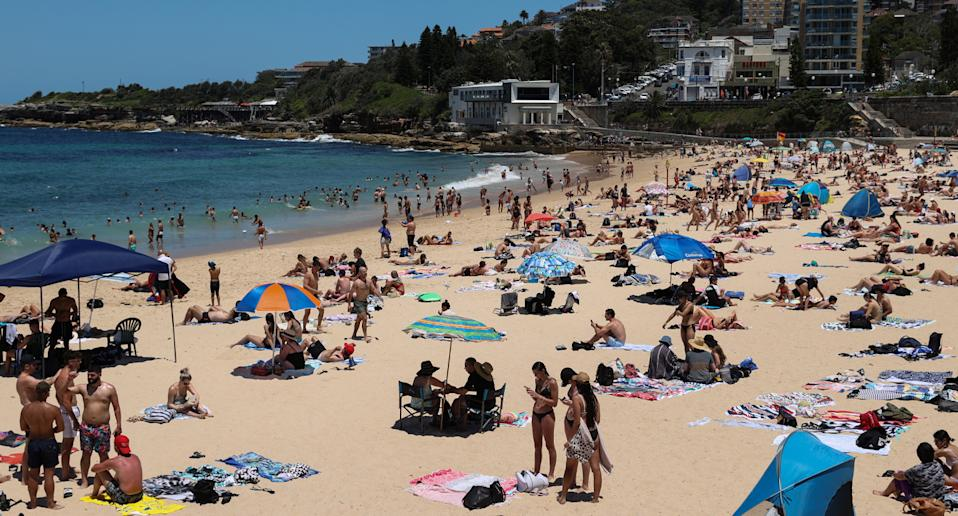 Crowds at Coogee beach in Sydney.