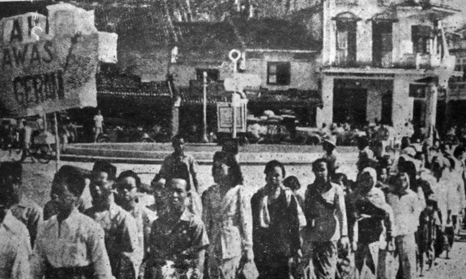 API, Awas and Geram members at a march in Malacca,1946