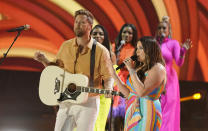 """Charles Kelley, left, and Hillary Scott of Lady A perform """"Like A Lady"""" at the CMT Music Awards at the Bridgestone Arena on Wednesday, June 9, 2021, in Nashville, Tenn. (AP Photo/Mark Humphrey)"""