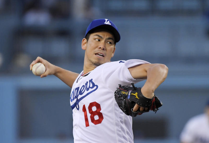 Los Angeles Dodgers starting pitcher Kenta Maeda throws during the first inning of the team's baseball game against the Toronto Blue Jays on Thursday, Aug. 22, 2019, in Los Angeles. (AP Photo/Mark J. Terrill)