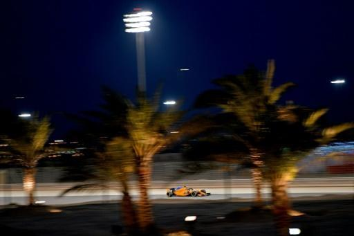 McLaren's Spanish driver Fernando Alonso drives during the second practice session ahead of the qualifiers for the Bahrain Formula One Grand Prix at the Sakhir circuit in Manama on April 6, 2018
