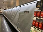 Shelves are seen at a Marks & Spencer store in Dublin
