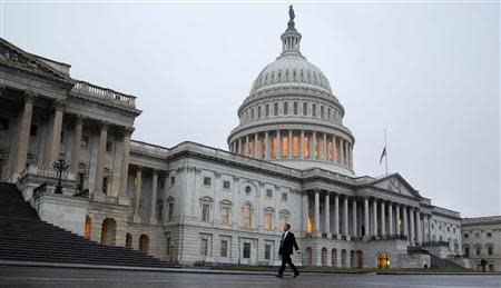 Man walks past the U.S. Capitol Building in Washington