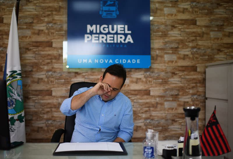 Mayor of Miguel Pereira, Andre Portugues, reacts during an interview with Reuters after the 63-year-old maid Leonice Goncalves, that lived in the city, was infect with coronavirus by her boss, according to state and local officials