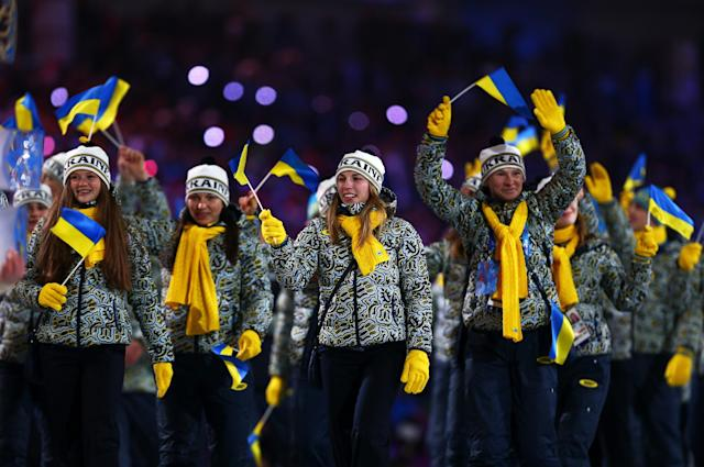 SOCHI, RUSSIA - FEBRUARY 07: The Ukraine Olympic team enters the stadium during the Opening Ceremony of the Sochi 2014 Winter Olympics at Fisht Olympic Stadium on February 7, 2014 in Sochi, Russia. (Photo by Paul Gilham/Getty Images)